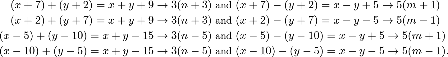 \begin{align*} (x+7)+(y+2) = x+y+9 \rightarrow 3(n+3) &\text{ and } (x+7)-(y+2) = x-y+5 \rightarrow 5(m+1)\\ (x+2)+(y+7) = x+y+9 \rightarrow 3(n+3) &\text{ and } (x+2)-(y+7) = x-y-5 \rightarrow 5(m-1)\\ (x-5)+(y-10) = x+y-15 \rightarrow 3(n-5) &\text{ and } (x-5)-(y-10) = x-y+5 \rightarrow 5(m+1)\\ (x-10)+(y-5) = x+y-15 \rightarrow 3(n-5) &\text{ and } (x-10)-(y-5) = x-y-5 \rightarrow 5(m-1).\\ \end{align*}
