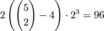 $2\left(\binom{5}{2} - 4\right) \cdot 2^3 = 96$
