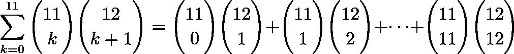 \[\sum_{k=0}^{11}\binom{11}{k}\binom{12}{k+1}=\binom{11}{0}\binom{12}{1}+\binom{11}{1}\binom{12}{2}+\cdots + \binom{11}{11}\binom{12}{12}\]