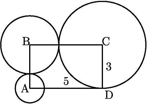 """[asy] draw((0,0)--(5,0)--(5,3)--(0,3)--(0,0)); draw(Circle((0,0),1)); draw(Circle((0,3),2)); draw(Circle((5,3),3)); label(""""A"""",(0.2,0),W); label(""""B"""",(0.2,2.8),NW); label(""""C"""",(4.8,2.8),NE); label(""""D"""",(5,0),SE); label(""""5"""",(2.5,0),N); label(""""3"""",(5,1.5),E); [/asy]"""
