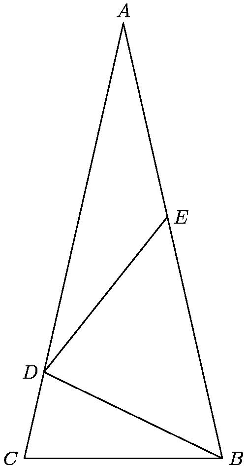 """[asy] size(10cm); pair A, B, C, D, F; A = (0, tan(3 * pi / 7)); B = (1, 0); C = (-1, 0); F = rotate(90/7, A) * (A - (0, 2)); D = rotate(900/7, F) * A; draw(A -- B -- C -- cycle); draw(F -- D); draw(D -- B); label(""""$A$"""", A, N); label(""""$B$"""", B, E); label(""""$C$"""", C, W); label(""""$D$"""", D, W); label(""""$E$"""", F, E); [/asy]"""