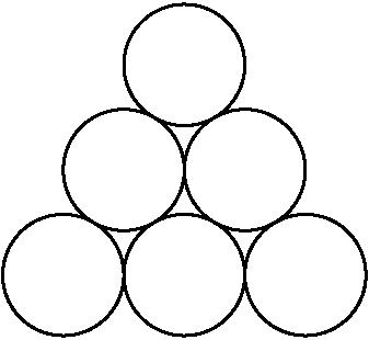 [asy] size(100); pair A, B, C, D, E, F; A = (0,0); B = (1,0); C = (2,0); D = rotate(60, A)*B; E = B + D; F = rotate(60, A)*C; draw(Circle(A, 0.5)); draw(Circle(B, 0.5)); draw(Circle(C, 0.5)); draw(Circle(D, 0.5)); draw(Circle(E, 0.5)); draw(Circle(F, 0.5)); [/asy]