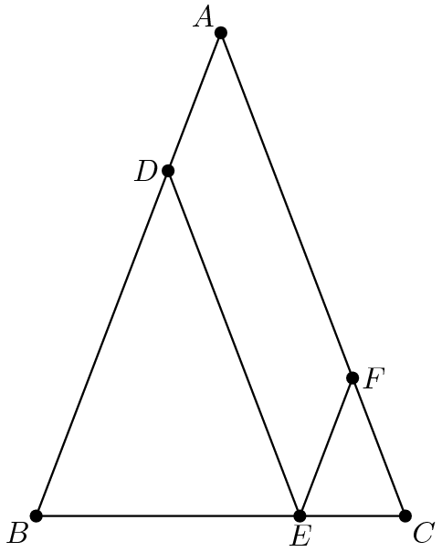 "[asy] size(180); pen dps = linewidth(0.7) + fontsize(10); defaultpen(dps); real r=5/7; pair A=(10,sqrt(28^2-100)),B=origin,C=(20,0),D=(A.x*r,A.y*r); pair bottom=(C.x+(D.x-A.x),C.y+(D.y-A.y)); pair E=extension(D,bottom,B,C); pair top=(E.x+D.x,E.y+D.y); pair F=extension(E,top,A,C); draw(A--B--C--cycle^^D--E--F); dot(A^^B^^C^^D^^E^^F); label(""$A$"",A,NW); label(""$B$"",B,SW); label(""$C$"",C,SE); label(""$D$"",D,W); label(""$E$"",E,S); label(""$F$"",F,dir(0)); [/asy]"