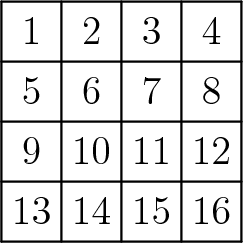 "[asy] unitsize(18); for(int a=0; a<5; ++a) { draw((a,0)--(a,4)); } for(int b=0; b<5; ++b) { draw((0,b)--(4,b)); } label(""$1$"",(0.5,3.1),N); label(""$2$"",(1.5,3.1),N); label(""$3$"",(2.5,3.1),N); label(""$4$"",(3.5,3.1),N); label(""$5$"",(0.5,2.1),N); label(""$6$"",(1.5,2.1),N); label(""$7$"",(2.5,2.1),N); label(""$8$"",(3.5,2.1),N); label(""$9$"",(0.5,1.1),N); label(""$10$"",(1.5,1.1),N); label(""$11$"",(2.5,1.1),N); label(""$12$"",(3.5,1.1),N); label(""$13$"",(0.5,0.1),N); label(""$14$"",(1.5,0.1),N); label(""$15$"",(2.5,0.1),N); label(""$16$"",(3.5,0.1),N); [/asy]"