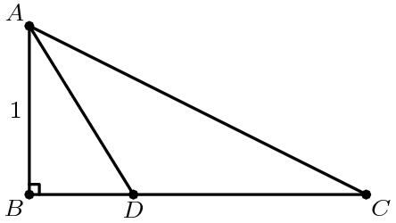 "[asy] unitsize(2cm); defaultpen(linewidth(.8pt)+fontsize(8pt)); dotfactor=4; pair A=(0,1), B=(0,0), C=(2,0); pair D=extension(A,bisectorpoint(B,A,C),B,C); pair[] ds={A,B,C,D}; dot(ds); draw(A--B--C--A--D); label(""$1$"",midpoint(A--B),W); label(""$B$"",B,SW); label(""$D$"",D,S); label(""$C$"",C,SE); label(""$A$"",A,NW); draw(rightanglemark(C,B,A,2)); [/asy]"
