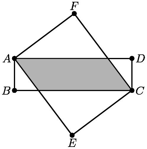 """[asy] pair A, B, C, D, E, F; A=(0,3); B=(0,0); C=(11,0); D=(11,3); E=foot(C, A, (9/4,0)); F=foot(A, C, (35/4,3)); draw(A--B--C--D--cycle); draw(A--E--C--F--cycle); filldraw(A--(9/4,0)--C--(35/4,3)--cycle,gray*0.5+0.5*lightgray); dot(A^^B^^C^^D^^E^^F); label(""""$A$"""", A, W); label(""""$B$"""", B, W); label(""""$C$"""", C, (1,0)); label(""""$D$"""", D, (1,0)); label(""""$F$"""", F, N); label(""""$E$"""", E, S); [/asy]"""