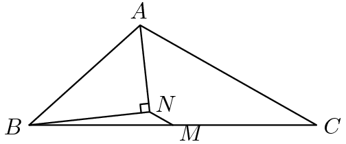 "[asy] size(150); defaultpen(linewidth(0.7)+fontsize(10)); pair B=origin, A=14*dir(42), C=intersectionpoint(B--(30,0), Circle(A,19)), M=midpoint(B--C), b=A+14*dir(A--C), N=foot(A, B, b); draw(N--B--A--N--M--C--A^^B--M); markscalefactor=0.1; draw(rightanglemark(B,N,A)); pair point=N; label(""$A$"", A, dir(point--A)); label(""$B$"", B, dir(point--B)); label(""$C$"", C, dir(point--C)); label(""$M$"", M, dir(point--M)); label(""$N$"", N, dir(30)); label(rotate(A--C)*""$19$"", A--C, dir(A--C)*dir(90)); label(rotate(A--B)*""$14$"", A--B, dir(A--B)*dir(90)); [/asy]"