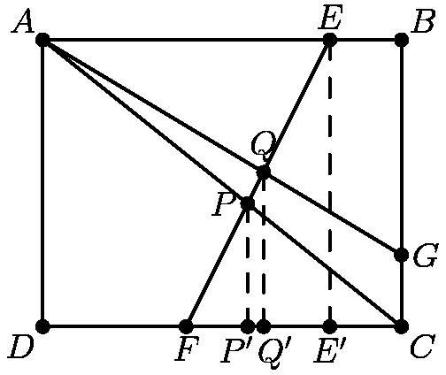 """[asy] pair A1=(2,0),A2=(4,4); pair B1=(0,4),B2=(5,1); pair C1=(5,0),C2=(0,4);  pair D1=(20/7,0),D2=(20/7,12/7); pair E1=(40/13,0),E2=(40/13,28/13); pair F1=(4,0),F2=(4,4); draw(A1--A2); draw(B1--B2); draw(C1--C2); draw(D1--D2,dashed); draw(E1--E2,dashed); draw(F1--F2,dashed); draw((0,0)--B1--(5,4)--C1--cycle); dot((20/7,12/7)); dot((3.07692307692,2.15384615384)); dot((20/7,0)); dot((40/13,0)); dot((4,0)); label(""""$Q$"""",(3.07692307692,2.15384615384),N); label(""""$P$"""",(20/7,12/7),W); label(""""$A$"""",(0,4), NW); label(""""$B$"""",(5,4), NE); label(""""$C$"""",(5,0),SE); label(""""$D$"""",(0,0),SW); label(""""$F$"""",(2,0),S); label(""""$G$"""",(5,1),E); label(""""$E$"""",(4,4),N); label(""""$P'$"""", (20/7,0),SSW); label(""""$Q'$"""", (40/13,0),SSE); label(""""$E'$"""", (4,0),S);  dot(A1); dot(A2); dot(B1); dot(B2); dot(C1); dot(C2); dot((0,0)); dot((5,4));[/asy]"""