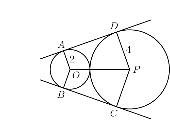 "[asy]size(200);defaultpen(linewidth(0.8)); pair X=(-6,0), O=origin, P=(6,0), B=tangent(X, O, 2, 1), A=tangent(X, O, 2, 2), C=tangent(X, P, 4, 1), D=tangent(X, P, 4, 2); pair top=X+15*dir(X--A), bottom=X+15*dir(X--B); draw(Circle(O, 2)^^Circle(P, 4)); draw(bottom--X--top); draw(A--O--B^^O--P^^D--P--C); pair point=X; label(""$2$"", midpoint(O--A), dir(point--midpoint(O--A))); label(""$4$"", midpoint(P--D), dir(point--midpoint(P--D))); label(""$O$"", O, SE); label(""$P$"", P, dir(point--P)); pair point=O; label(""$A$"", A, dir(point--A)); label(""$B$"", B, dir(point--B)); pair point=P; label(""$C$"", C, dir(point--C)); label(""$D$"", D, dir(point--D)); fill((-3,7)--(-3,-7)--(-7,-7)--(-7,7)--cycle, white);[/asy]"