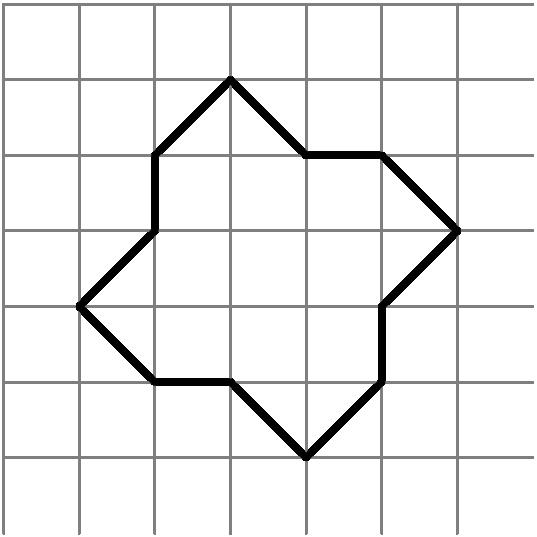 [asy] unitsize(8mm); for (int i=0; i<7; ++i) { draw((i,0)--(i,7),gray); draw((0,i+1)--(7,i+1),gray); } draw((1,3)--(2,4)--(2,5)--(3,6)--(4,5)--(5,5)--(6,4)--(5,3)--(5,2)--(4,1)--(3,2)--(2,2)--cycle,black+2bp); [/asy]
