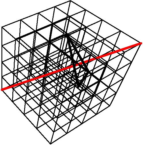 [asy] import three; currentprojection = perspective(3,-2,4); void match(int i, int j, int k){    draw(shift((i,j,k))*box((0,0,0),(1,1,1)),linewidth(1));  draw(shift((k,i,j))*box((0,0,0),(1,1,1)),linewidth(1));  draw(shift((j,k,i))*box((0,0,0),(1,1,1)),linewidth(1));  draw((i+0.5,j+0.5,k+0.5)--(j+0.5,k+0.5,i+0.5)--(k+0.5,i+0.5,j+0.5)--cycle,linewidth(2)); } int n = 4; for(int i = 0; i < n; ++i){  for(int j = 0; j < n; ++j)   for(int k = 0; k < n; ++k)    draw(shift((i,j,k))*box((0,0,0),(1,1,1)), linewidth(0.5)); } draw((0,0,0)--(n,n,n),red+linewidth(2));match(2,3,1); [/asy]