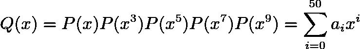$Q(x)=P(x)P(x^{3})P(x^{5})P(x^{7})P(x^{9})=\sum_{i=0}^{50} a_ix^{i}$