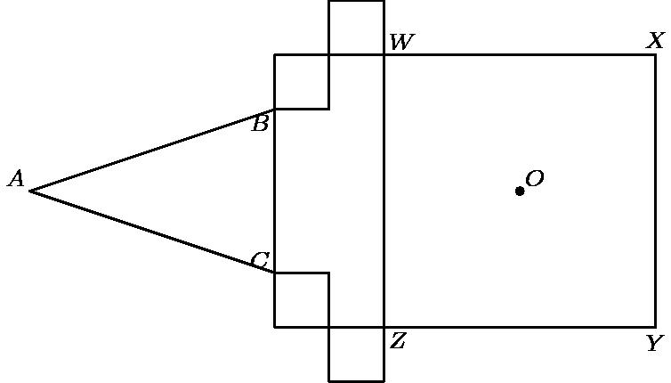"[asy] defaultpen(fontsize(8)); size(225); pair Z=origin, W=(0,10), X=(10,10), Y=(10,0), O=(5,5), B=(-4,8), C=(-4,2), A=(-13,5); draw((-4,0)--Y--X--(-4,10)--cycle); draw((0,-2)--(0,12)--(-2,12)--(-2,8)--B--A--C--(-2,2)--(-2,-2)--cycle); dot(O); label(""$A$"", A, NW); label(""$O$"", O, NE); label(""$B$"", B, SW); label(""$C$"", C, NW); label(""$W$"",W , NE); label(""$X$"", X, N); label(""$Y$"", Y, S); label(""$Z$"", Z, SE); [/asy]"