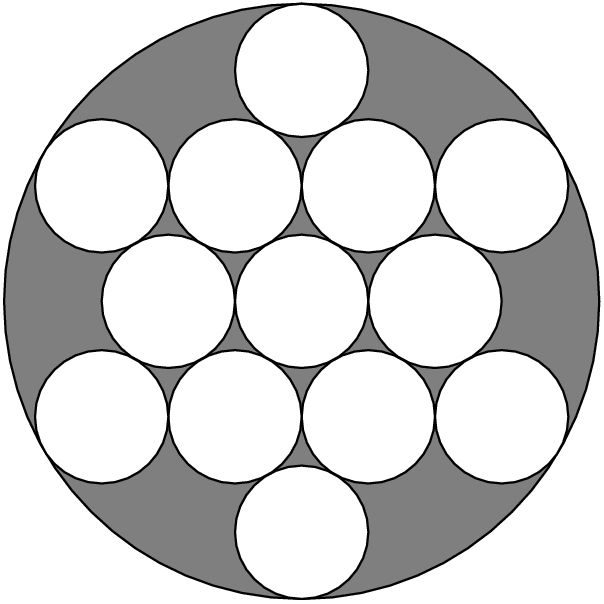 [asy]unitsize(20);filldraw(circle((0,0),2*sqrt(3)+1),rgb(0.5,0.5,0.5));filldraw(circle((-2,0),1),white);filldraw(circle((0,0),1),white);filldraw(circle((2,0),1),white);filldraw(circle((1,sqrt(3)),1),white);filldraw(circle((3,sqrt(3)),1),white);filldraw(circle((-1,sqrt(3)),1),white);filldraw(circle((-3,sqrt(3)),1),white);filldraw(circle((1,-1*sqrt(3)),1),white);filldraw(circle((3,-1*sqrt(3)),1),white);filldraw(circle((-1,-1*sqrt(3)),1),white);filldraw(circle((-3,-1*sqrt(3)),1),white);filldraw(circle((0,2*sqrt(3)),1),white);filldraw(circle((0,-2*sqrt(3)),1),white);[/asy]