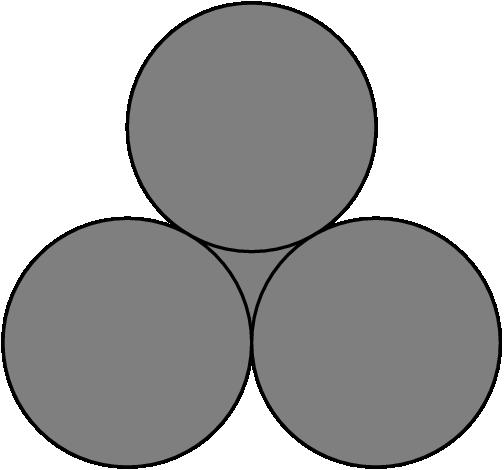 [asy] filldraw((0,0)--(2,0)--(1,sqrt(3))--cycle,gray,gray); filldraw(circle((1,sqrt(3)),1),gray); filldraw(circle((0,0),1),gray); filldraw(circle((2,0),1),grey);[/asy]