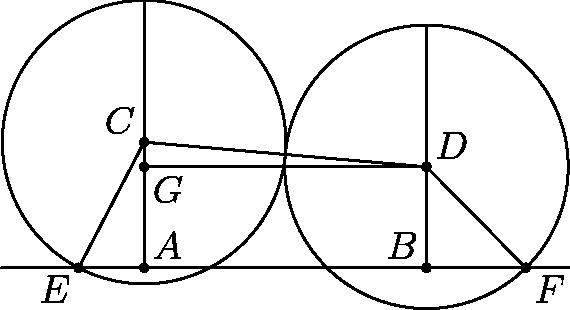"""[asy] unitsize(1.5 cm); pair A, B, C, D, E, F, G, P, Q; C = dir(175); D = dir(175 + 180); P = (-2,-0.8); Q = (2,-0.8); A = (C + reflect(P,Q)*(C))/2; B = (D + reflect(P,Q)*(D))/2; E = intersectionpoint(P--A, Circle(C,1)); F = intersectionpoint(B--Q, Circle(D,1)); G = (D + reflect(A,C)*(D))/2; draw(Circle(C,1)); draw(Circle(D,1)); draw(P--Q); draw(A--(C + (0,1))); draw(B--(D + (0,1))); draw(E--C--D--F); draw(D--G); dot(""""$A$"""", A, NE); dot(""""$B$"""", B, NW); dot(""""$C$"""", C, NW); dot(""""$D$"""", D, NE); dot(""""$E$"""", E, SW); dot(""""$F$"""", F, SE); dot(""""$G$"""", G, SE); [/asy]"""